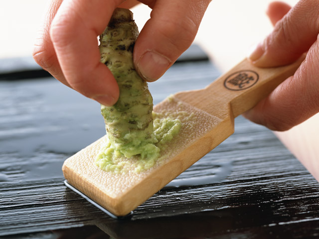 """Wasabi"" (Japanese mustard) is an essential condiment when eating Sashimi, as it helps kill bacteria on the raw fish."